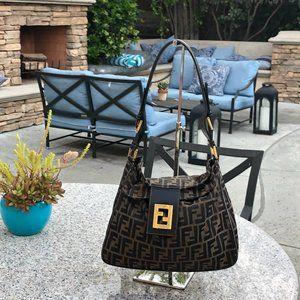 Fendi Vintage Zucca Baguette Bag Mama Double Flap